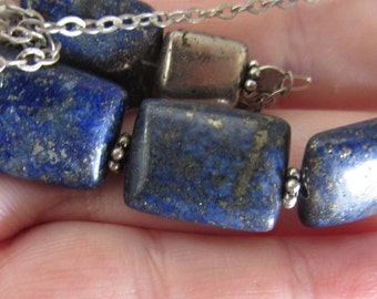 Deep Blue Lapis and Piryte Silver Necklace *