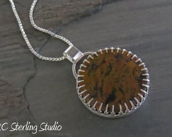 Natural tiger skin jasper and sterling silver pendant necklace - metalsmith silversmith