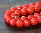 Faceted Jade Beads, Red Orange, 8mm Round - 15 Inch Strand - eJFR-R08-8