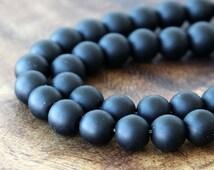 Matte Black Agate Beads, 8mm Round, 15 inch strand - eGR-AG001-8