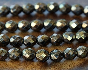 Metallic Gold Topaz Czech Glass Beads, 8mm Faceted Round - 25 pcs - eB15695-8
