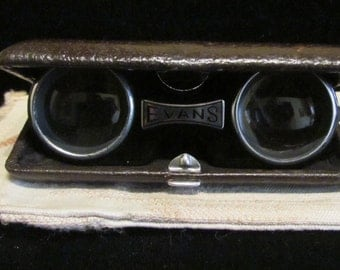 1940s Evans Butterfly Opera Glasses Field Binoculars Machined Extruded Aluminum and Brown Leather Made in USA Very Good Condition RARE