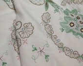 cottage vintage linen tablecloth emboidered flowered green and red and tan cut work shabby chic scalloped by herminas cottage
