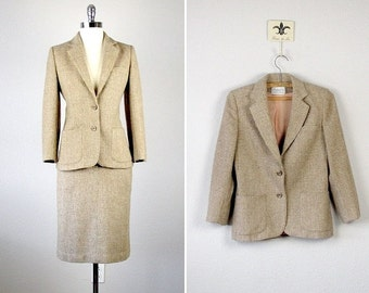 Vintage Tweed Suit, Wool Suit, Wool Skirt, Wool Blazer, Tweed Skirt, Tweed Blazer, Oatmeal, 1970s Suit Set, Junior, Small