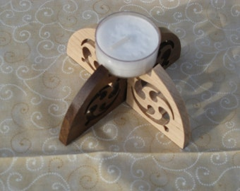 Tea Light Candle Holder Made From Hard Maple And Walnut
