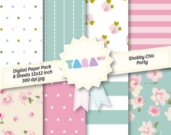 """Shabby Chic Party Digital Scrapbook Paper, 8 files Digital Scrapbooking, 8 jpg files 12""""x12"""", DIY Craft Kit Digital Paper Cottage Chic"""