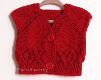 Baby vest/ short sleeve cardigan sweater 6- 9 months for boy girl, XO infant fashion, unisex baby shower gift, photo props, hand knit in red