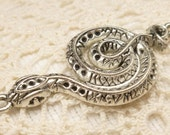 Life Like Ornate Snake Connector Pendant Charm, Antique Silver(2)