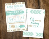 Chevron Teal and Gold Baby Shower Invitation