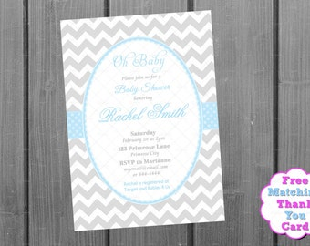 Blue and Grey Chevron Boy Baby Shower Invitation and FREE Thank You Card Printable DIY