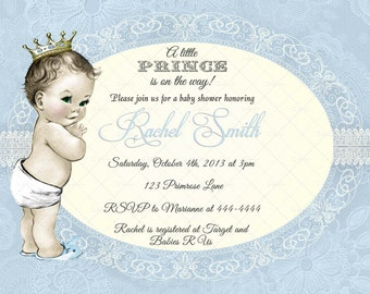Blue Lace Little Prince Boy Baby Shower Invitation and FREE Thank You Card Printable DIY - Vintage