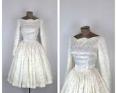 1950s Satin Brocade Wedding Dress • 50s Long Sleeve Bridal Gown • Knee Length Formal Cocktail Dress • Full Circle Skirt • Small to Medium