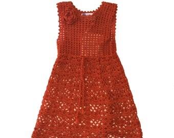 Summer Crochet Dress in Orange