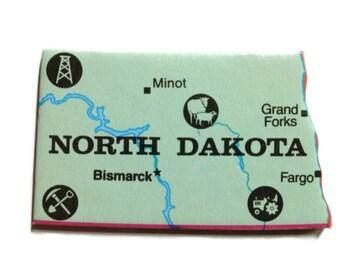 North Dakota State Map Magnet - Vintage Puzzle Piece