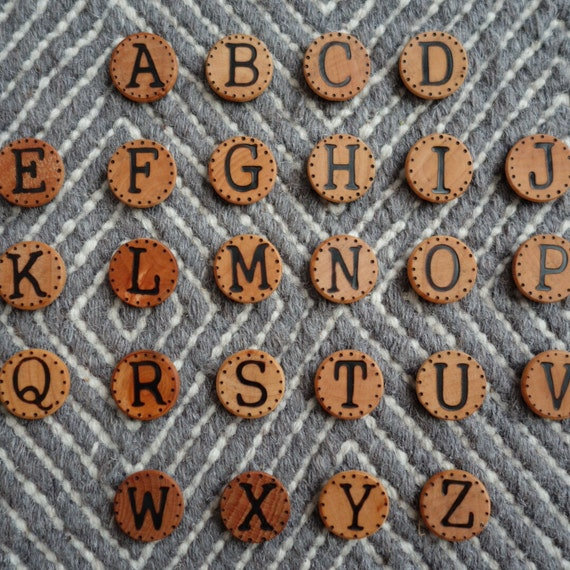 Wood Burned Alphabet Magnets