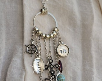 70th Birthday Charm Necklace, Vintage Assemblage Customized Charm Necklace OR Bracelet, Hand Stamped Word Charms, Bon Voyage Vacation Travel