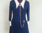 Navy Mod, 60s Military Nautical Dress with gold chain details.