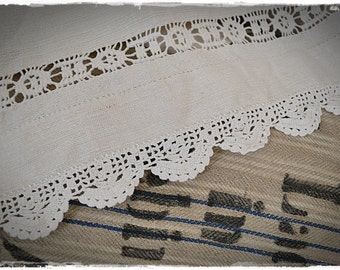 Curtain antique Transylvanian linen, Set of two, plain sewing, linen embroidery wedding