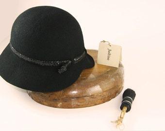 HAT ON SALE , Black Cloche Hat , Womens Cloche Felt Hat, Classic Cloche Hat