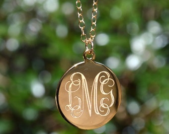 Personalized Jewelry Necklace Monogrammed Initial Monogram Jewelry Bridesmaids Gift Monogram Necklace Mothers Day Gift