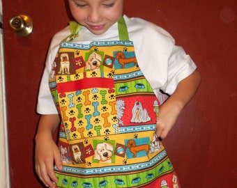 Child's Reversible Dog Apron in Primary Colors-Size Medium