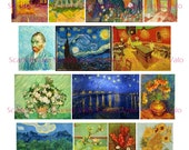 Van Gogh -  Digital Collage Sheet PDF File Instant Download