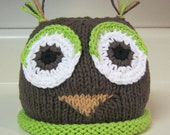 Hand Knitted Owl Hat Green