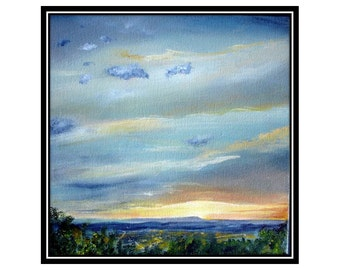 Original art, acrylic, sunset, sky painting, skyscape, Lookout Mountain Tennessee small painting landscape contemporary art