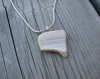 JEWELRY SALE- Shell Piece Necklace -Cream- one of a kind