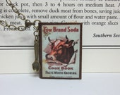 Mini Leather Book Necklace - Cow Brand Soda Cook Book Cover