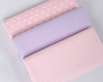 Pastel Pink Purple Dots Cotton, Light Pink Purple Fabric with White Pin Dots, Polka Dots Cotton, Fabric with Dots - 1/2 yard