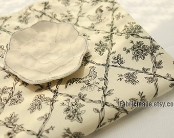 Soft Linen Cotton Fabric Off White Linen With Black Pencil Sketch Cock Vine diamond Plaid - 1/2 Yard