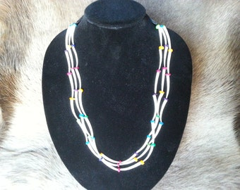 Dentalium Shell Necklace With Rainbow Color Glass Beads~Native Made