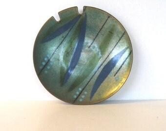 SALE, Vintage Enamel Ware Copper Bowl Ashtray,  Mid Century Modern, Handmade, Home Decor, Tobacciana, gift idea, trinket dish