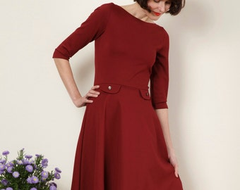 "Dress ""Elisa"", with a round skirt in bordeaux red"