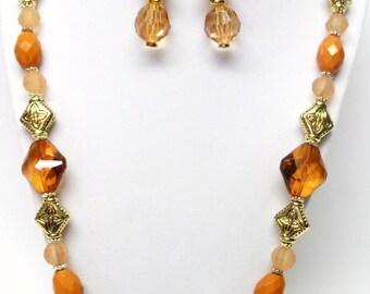 Mixed Topaz Acrylic Bead Necklace & Earrings Set