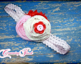 Pink, White, Red Rosette Headband, Baby, Hair Piece, Rolled Rosette Headband, Flower Hair bow, red pink hair clip, fabric flowers, hairbow
