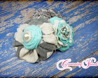 Aqua, Grey, Ivory Hair Accessory, Mustard Pie Spring, Turquoise Gray Headband, M2M Bella Grey Chevron, Fabric Flower Hair Clip, Aqua Hairbow
