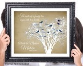 Two Hearts, 50th Wedding Anniversary, Gift for Grandparents, Family Tree Print Birds, Gift for Mom Dad, Family Member Names, 8x10