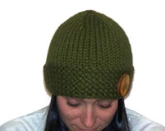 Warm Winter Beanie Hat Cilantro with Wooden Button