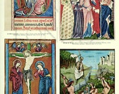 1936 French wall hanging Vintage miniatures print Vintage religious art Miniature art Vintage religious decor Medieval decor Medieval art
