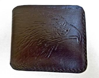 Black leather wallet, eagle wallet, leather billfold, mens wallet