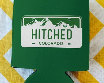 Colorado wedding, License Plate Wedding favors, Just Hitched can coolers, Mountain destination wedding coolie (12 qty)