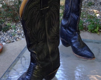 Cowboy Boots, Black Alligator and Stitched Leather, Ladies Size 5. Justin Brand, 1980s