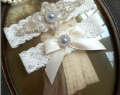 Wedding Garter-Garters-Bridal Garter-Blue-Pearl garter-Keepsake-Something blue-Ivory Lace Garter Set-something blue-bridal white-off-white