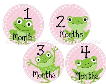 Month Stickers Baby Monthly Stickers Milestone Stickers Monthly Baby Stickers Photo Prop Stickers Frogs Girl Baby Shower Gift