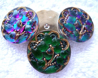 Czech  Glass  Cabachons  no shank    4 pcs  27mm   gorgeous  IVA 094