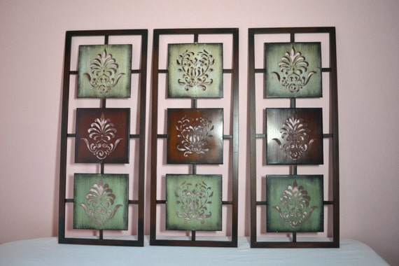 Oriental Metal Wall Decor : Vintage wall art panel metal asian pennsylvania by