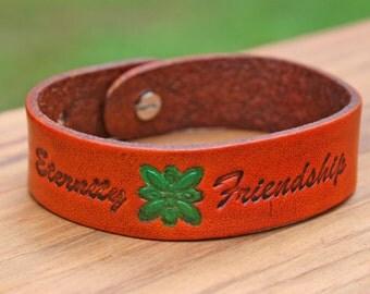 Leather Bracelet Green Flower Eternity Friendship