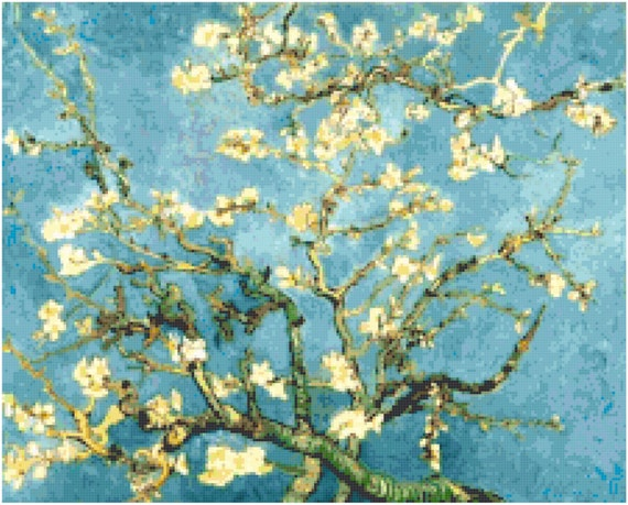 Vincent Van Gogh Almond Tree Branches in Bloom Counted Cross